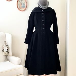 1950 Vintage Embroidered Princess Cape Collar Coat